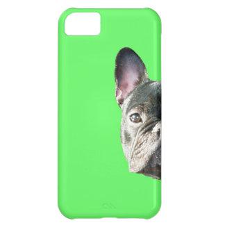 」緑のIphone 5の場合をかいま見ているフレンチ・ブルドッグ「 iPhone5Cケース