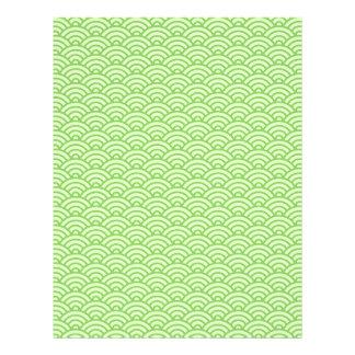 緑のJapaneeseの波パターンスクラップブックの技術の紙 レターヘッド