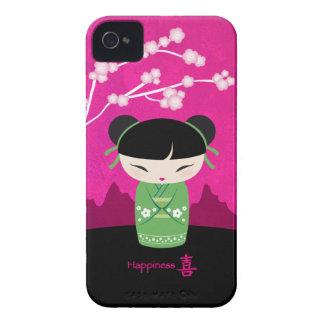 緑のKokeshi -幸福-ブラックベリーの箱 Case-Mate iPhone 4 ケース