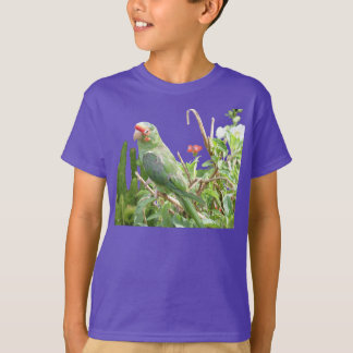 緑のLorikeetのオーガニックな鳥のTシャツ Tシャツ