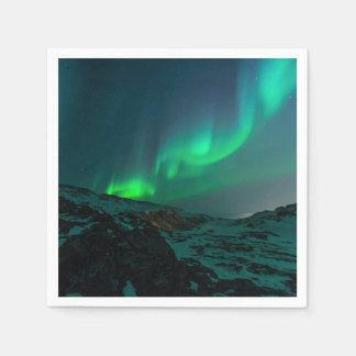 緑のNorthern Lights スタンダードカクテルナプキン