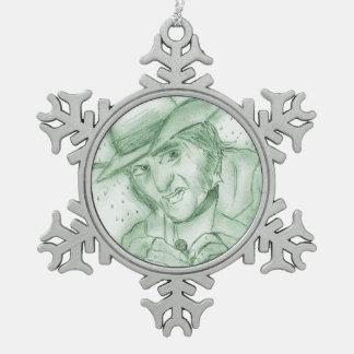 緑のScrooge スノーフレークピューターオーナメント