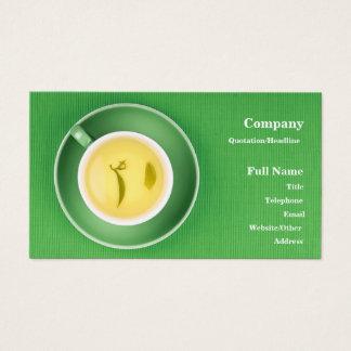 緑のtextil上の緑茶のコップが付いている名刺 名刺