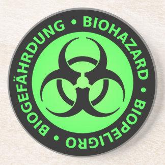 緑のTrilingual生物学的災害[有害物質]の警告 コースター