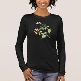緑のVioletearのハチドリのTシャツ 長袖Tシャツ