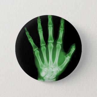 緑のX線の骨組手 5.7CM 丸型バッジ