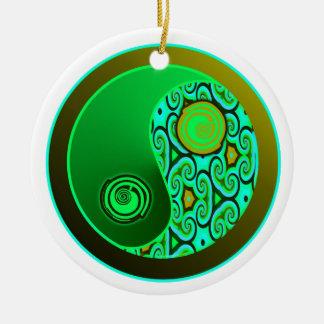 緑はオーナメント陰陽の渦巻きます セラミックオーナメント