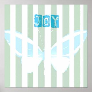 緑は喜びの蝶ポスターを縞で飾ります ポスター