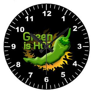 緑は熱いです ラージ壁時計