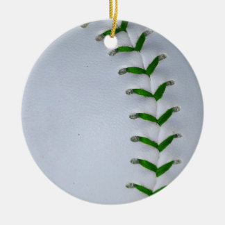 緑は野球/ソフトボールをステッチします セラミックオーナメント