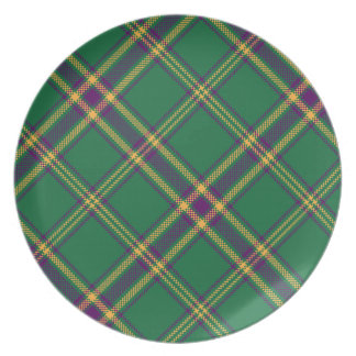 緑または紫色または金ゴールドのタータンチェック格子縞のプレート プレート