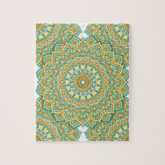 緑または黄色の曼荼羅のパズル ジグソーパズル
