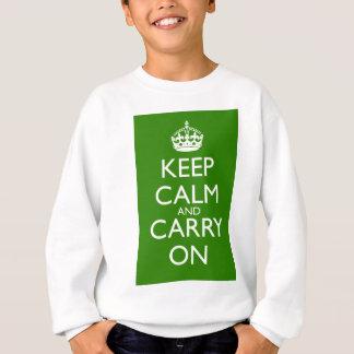 緑を競争させているKeep Calm and Carry Onイギリス スウェットシャツ