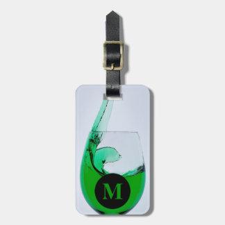 緑アルコール飲料のモノグラム旅行ガラス ラゲッジタグ