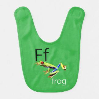 緑カエルの手紙Fのよだれかけ ベビービブ