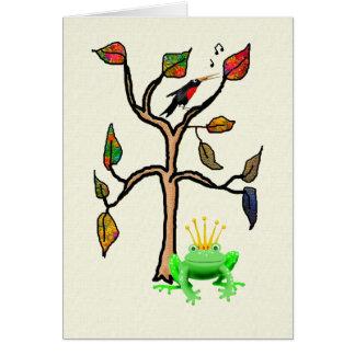 緑カエルの王子および鳥 カード