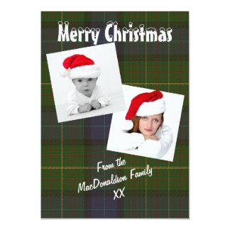 緑カリフォルニア格子縞の写真テンプレートのクリスマスの休日 カード