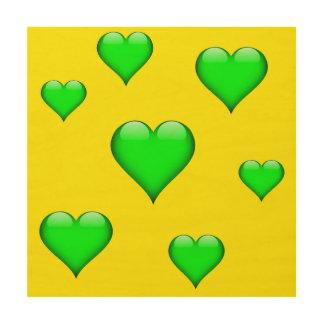 緑ガラスのハートはカスタマイズ可能タイルを張りました ウッドウォールアート