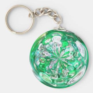 緑ガラスの水晶の泡効果 キーホルダー