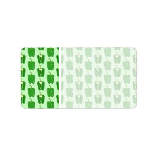 緑コショウ。 パターン ラベル