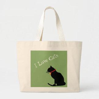 緑ジャンボI愛猫および白く写実的なトート ラージトートバッグ