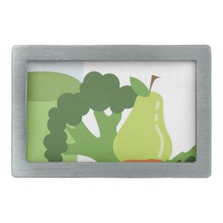 緑ジュースの野菜 長方形ベルトバックル