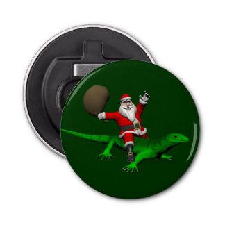 緑トカゲに乗っているサンタクロース 栓抜き