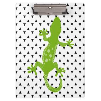 緑トカゲの白黒三角形のクリップボード クリップボード