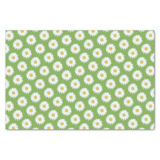 緑パターンのシンプルで白いデイジー 薄葉紙