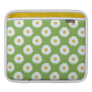 緑パターンのシンプルで白いデイジー iPadスリーブ
