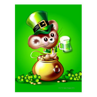 緑ビールのパイントを握る金の壷のマウス ポストカード