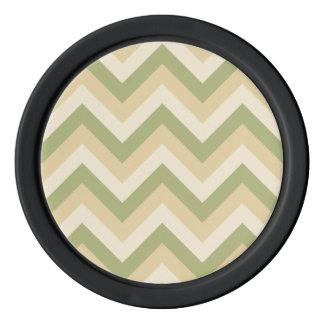 緑ベージュ結婚式はシェブロンモダンなパターンを着色します ポーカーチップ