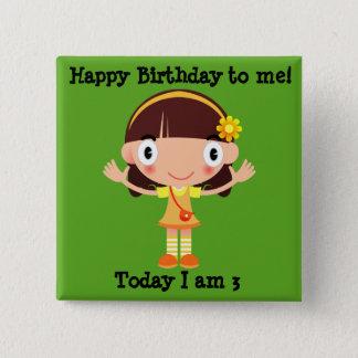 緑ボタンのかわいい小さな女の子との誕生日 5.1CM 正方形バッジ