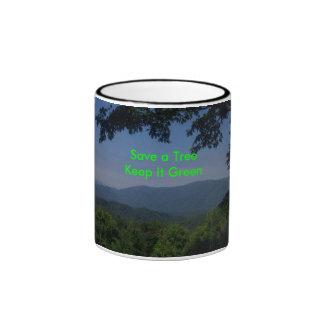緑メッセージ リンガーマグカップ