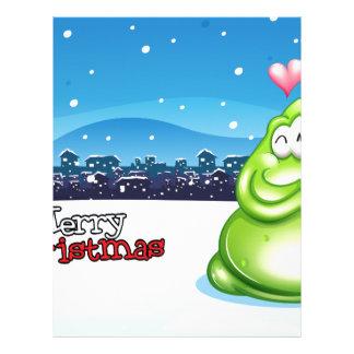 緑モンスターが付いているクリスマスカード レターヘッド