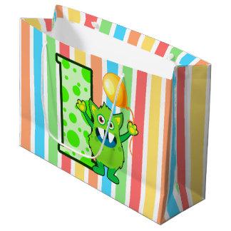 緑モンスターのストライプ ラージペーパーバッグ