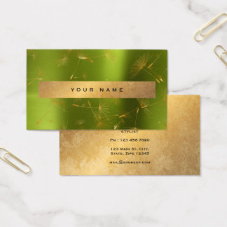 緑レモン金ゴールドの汚いタンポポの紙吹雪Vip 名刺