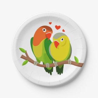 緑仲の良い恋人同士及び黄色い結婚式、ブライダルシャワー ペーパープレート