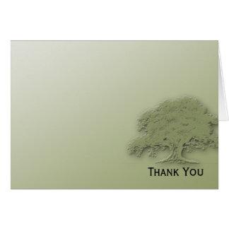 緑分野のメッセージカードの巨大なカシ カード
