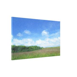 緑分野の青空 キャンバスプリント