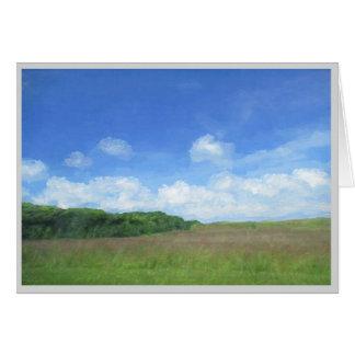 緑分野の青空 グリーティングカード