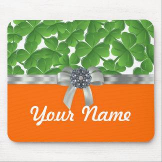 緑及びオレンジシャムロックパターン マウスパッド