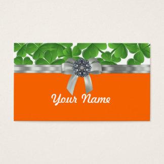 緑及びオレンジシャムロックパターン 名刺