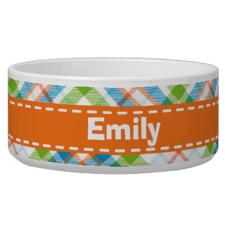 緑及びオレンジ格子縞 犬用水皿