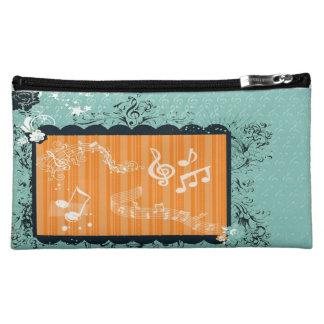 緑及びオレンジ音楽的なデザインの中型の化粧品のバッグ コスメティックバッグ