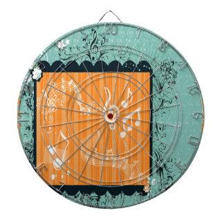 緑及びオレンジ音楽的なデザインの投げ矢板 ダーツボード