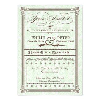 緑及びブラウンのダマスク織のポストの結婚披露宴の招待 カード