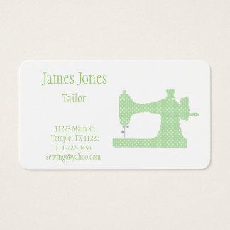 緑及び白いミシンのテーラー名刺 名刺