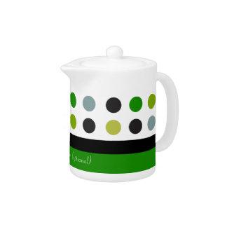 緑及び白い水玉模様のカスタマイズ可能なデザイン