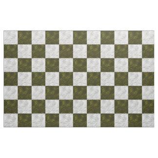 緑及び白い波状のチェッカーボード-生地のプリント ファブリック